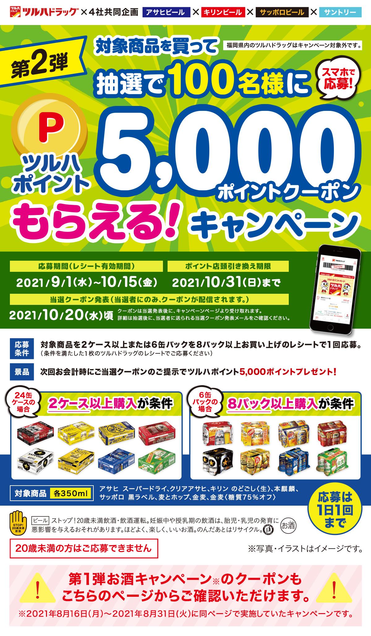 ツルハドラッグで、対象商品を買ってツルハポイント5,000ポイントが抽選で100名様に当たるキャンペーン
