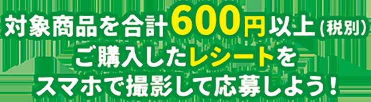 対象商品を合計600円以上(税別)ご購入したレシートをスマホで撮影して応募しよう!